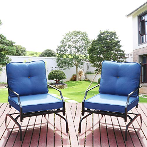 Lovinouse 2 Piece Patio Chairs Outdoor Rocking Chair, 400 Lbs Capacity Each, Bistro Set Patio Conversation Set, Metal Frame Outdoor Furniture for Balcony, Yard (Blue)