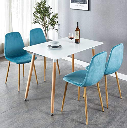 """OKAKOPA 43.3"""" 5 Piece Dining Table Set, Mid-Century Modern Rectangle Table for Kitchen and 4 Dining Room Chairs with Metal Legs (White+Blue, 5 Pcs Set)"""