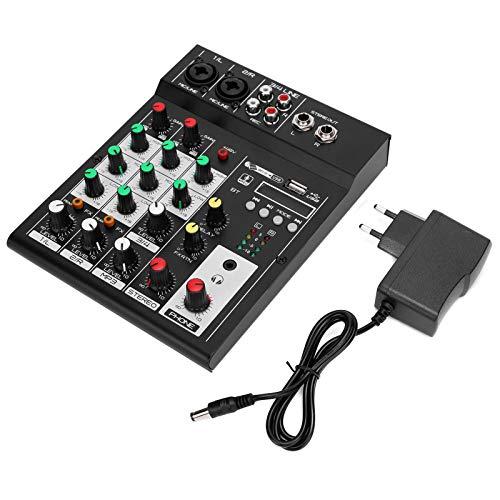 Qiter 【𝐏𝐚𝐬𝐜𝐮𝐚】 Mezclador portátil Duradero de Sonido Delicado, Mezclador de Cuatro Canales con CPU de Efectos Digitales, Mezclador Compacto de 4 Canales para grabación de música por webcast