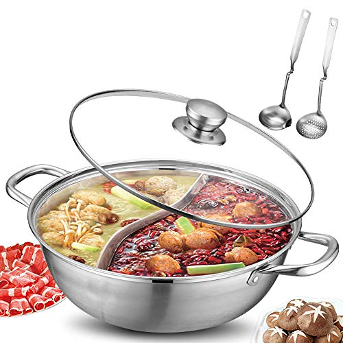Jinxiao Stainless Steel Shabu Shabu Hot Pot with Divider &Lid Yin Yang Hot Pot For Electric Induction Cooktop Gas Stove(28/30/32cm Include 2 Pot Spoons) (28cm)