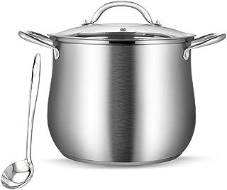 Guoguocy Ollas Rectas Olla, Acero Inoxidable 304 Elevación Engrosamiento Pot, Apto for lavavajillas Antiadherente Pot, de Gran Capacidad, de Plata (Size : 20cm*18cm)