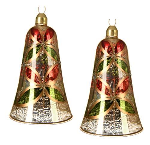KAE - Set di 2 Palline per Albero di Natale, a Forma di Campana, Design Tradizionale, in Vetro al...