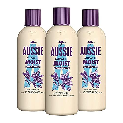 Aussie Miracle Moist Pflegespülung Für Trockenes, Durstiges Haar, 3er Pack (3 x 250 ml), Mit Macadamianussöl, Haarpflege Trockenes Haar, Haarpflege Für Trockene Haare, Trockene Haare Conditioner