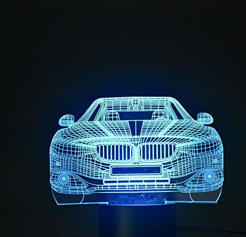 WEIYIKANG 3D Car Night Light LED Optical Illusion Lamp, 7 Colors Changing Touch Desk Lamp for Kids Birthday