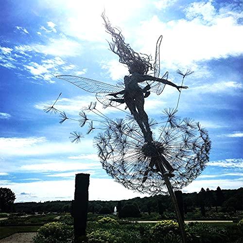 Fairies on Dandelions Sculpture, Fairy Garden Sculptures Dancing with Dandelions, Dark Metal Yard Art Garden Wind Spinner, Elf Silhouette Ornament for Garden Patio Lawn-A