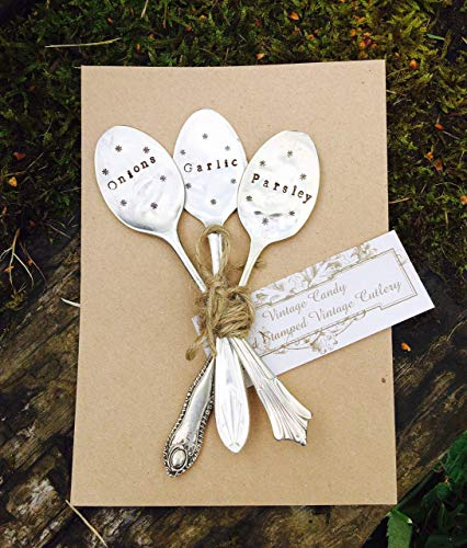 Set of 3 Personalised Upcycled Vintage Spoon Garden Plant Markers