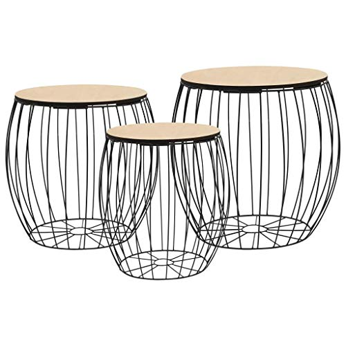 Festnight Tables gigognes | Table Basse | 3pcs Table de Salon | Table Basse Design en Bois Massif Noir en Fer
