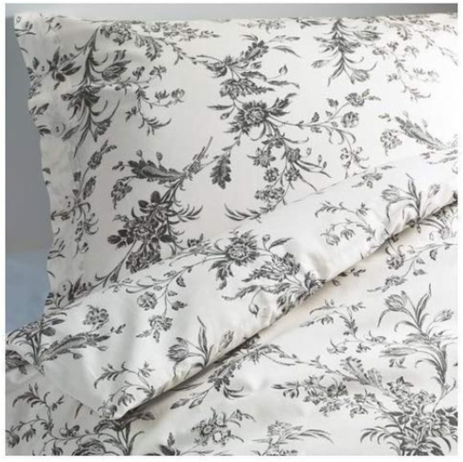 IKEA White and Grey Queen Full Duvet Cover and 2 Pillow Cases