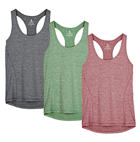 icyzone Workout Tank Tops for Women - Racerback Athletic Yoga Tops, Running Exercise Gym Shirts(Pack of 3)(S, Charcoal/Burgundy/Turf Green)
