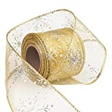 Livder 2.5 Inch Wide Christmas Wired Ribbon Snowflake Organza Sheer Glitter Ribbon for Xmas Tree, Wreath, Party Decoration, Gift Wrapping (Golden, 10.9 Yards)