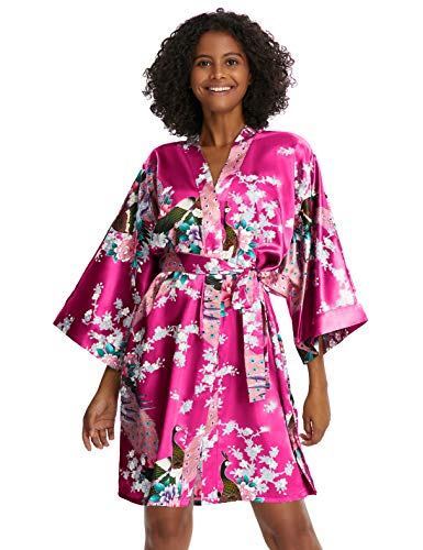 Coucoland Damen Morgenmantel Kurz Pfau Muster Bademantel Kimono Sommer Robe Satin Schlafmantel Damen Nachtwäsche mit Gürtel Strandkleid (Rosa Rot)