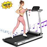 FUNMILY Treadmill, 2.25 HP Folding Treadmills for Home with Bluetooth Speaker & Desk, Installation-Free Walking Jogging Machine for Home Office Use (Black)