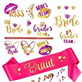 Oblique Unique Faja de novia + novia / Team Bride Tattoo Set para despedida de soltera JGA boda fiesta accesorios rosa oro