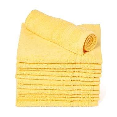 Goza Towels Luxury Cotton Wash Cloths (12 Pack) Easy Care, Fingertip Towels, Facial Towelettes, Cotton Hand Towels (Golden Yellow, 13x13)