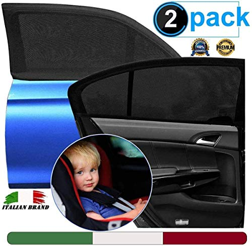 Tendine Parasole Auto Bambini (Brand Italiano) - Parasole Auto Bambini - Pellicola Oscurante Vetri Auto - Protezione Raggi Solari UV,Insetti,Privacy -