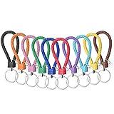 Llavero de cuero, cordón trenzado para llavero con llavero de acero inoxidable, unisex para hombres y mujeres (10 piezas / 10 colores)
