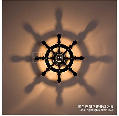 JJZHG Wandlamp, waterdicht, creatieve plafondlamp, led, slaapkamer, plafondlamp, warm slaapkamer, Sailor Captain, kinderwandlamp, gang slaapkamer, zwart (30 cm)