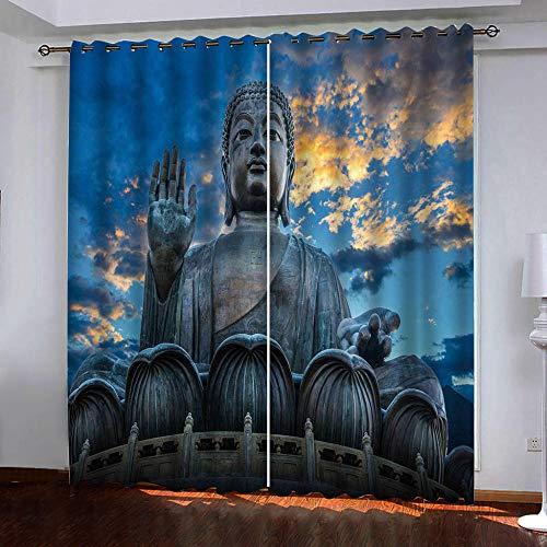 Lovekkk Cortinas Termicas Aislantes Frio y Calor para Dormitorio Matrimonio Salón Hotel Casa Exterior con Ojales 2 Panel Estatua de Buda 117x138cm(An x Al)