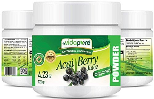 myVidaPure Bio ACAI BERRY SAFTPULVER. 100% reines natürliches RAW Non-GMO. SUPERFOOD Pulver für Gesundheit, Backen, Schönheit, Kochen und Nahrungsergänzung. 120 Gramm.
