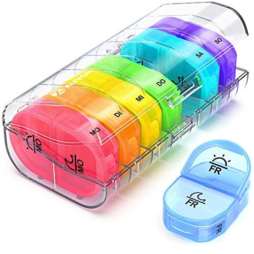 AUVON Tablettenbox 7 Tage Morgens Abends, Pillendose 7 Tage 2 Fächer, handlicher und feuchtigkeitsbeständiger Medikamentenbox für die Hand- oder Hosentasche, um Vitamin- und Medikamente aufzubewahren