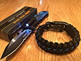 Tac-Force Blue Police Open LED Tactical Rescue automatic pocket knife for men/ Thin Blue Line Paracord Bracelet By Lost Survival Gear