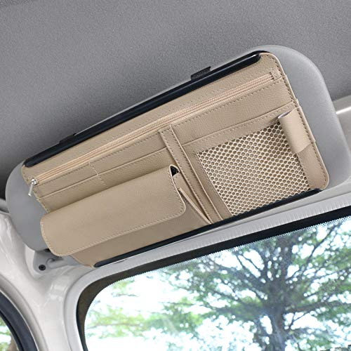 Bolsa de almacenamiento para visera de coche, organizador de bolsillo automático, almacenamiento de camiones, adorno interior, artículos de coche para bolígrafo, gafas de sol, beige