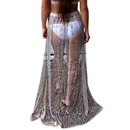 LILICAT Ladies Beach Cover Up Bikini Sequins Swimwear Coverup Sarong Wrap Pareo Skirt Swimsuit Womens Sexy Skirts Bling Gold Sliver Fashion Casual Summer (Sliver, S)