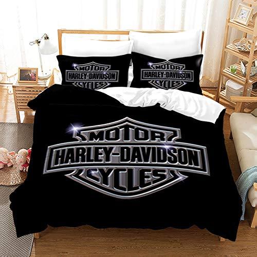 YZDM - Juego de funda de edredón para moto Harley Davidson, 2/3 piezas, suave microfibra suave, juego de cama para adulto, para decoración del hogar (D,135 x 200 cm)