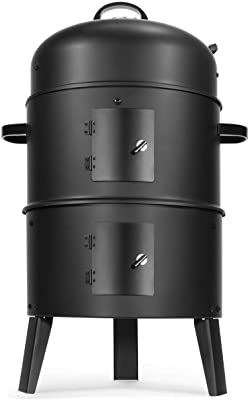 """Barton Vertical 16"""" Charcoal BBQ Smoker Grill Steamer Large Capacity for Outdoor Cooking Grilling"""