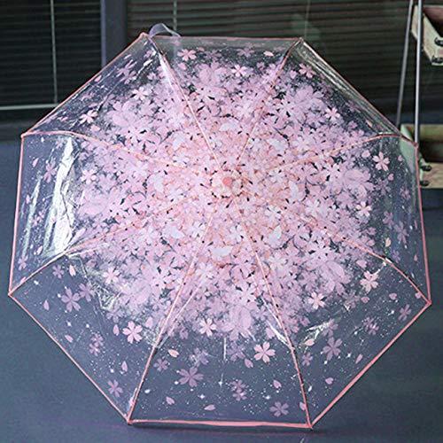 Ballylelly Paraguas Plegable Compacto de Cereza Paraguas Transparente Transparente Tres Paraguas Plegables...