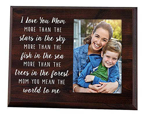 Elegant Signs Mom Picture Frame - I Love You Quote 4x6 Photo Holder Plaque - Mother Gifts