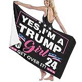 HUIHUANGm Trump 2024 Yes I'm A Trump Girl Get Over It Beach Towel Bath Towel Beach Blanket Quick Dry Towel Beach Bath Towels for Travel Swim Pool Yoga Gym