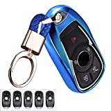 Royalfox(TM) Luxury 2 3 4 5 Buttons TPU Smart keyless Entry Remote Key Fob case Cover for Buick Verano Regal Lacross Encore Envision Enclave GL8 2015 2016 2017 2018 Accessories,with Keychain (Blue)