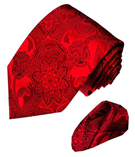 Lorenzo Cana - Marken 2 er Set aus 100% Seide - Festliche Krawatte mit Einstecktuch - Bordeaux Rot Paisley - 2500901