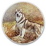 Impresionantes pegatinas de vinilo (juego de 2) 15 cm – Alaskan Malamute Husky Dog Puppy Divertidas calcomanías para portátiles, tabletas, equipaje, libros de chatarra, neveras, regalo genial #15806