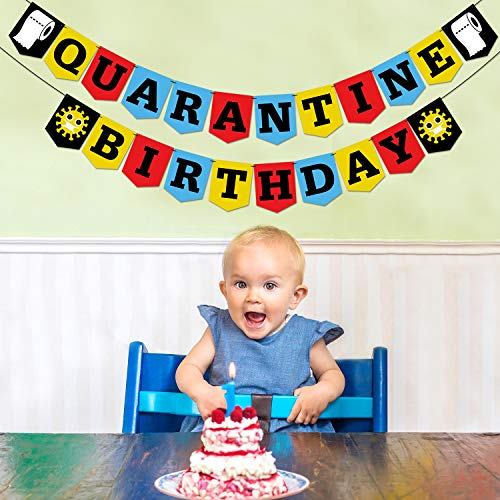 Mosailles Quarantine Birthday Party Banner (Colorful) Kids Adult Quarantine Party Supplies Quarantine 1st Birthday Backdrop Funny Stay Home Party Banner Social Distancing Party Favors