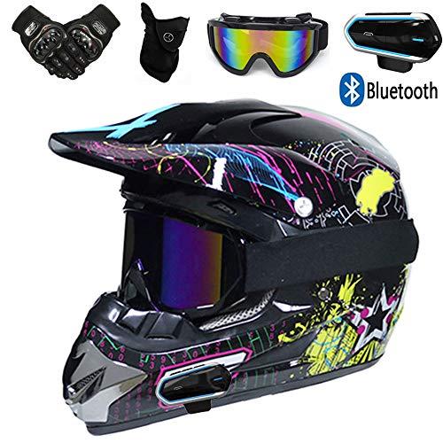 YASE Motocross Enduro Helm mit Bluetooth Kopfhörer Motorräder Crosshelm und Brille Handschuhe Masken, Motorrädhelm Full Face MTB Helm (5 Stück),Music Stickers,S