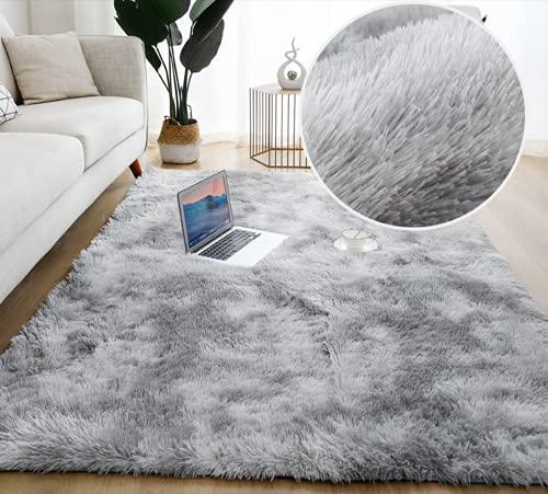 Tappeti Salotto Tappeto da Soggiorno Tappeto in Velluto soffice tappeti per camere da Letto Moderno Tappeto Camera da Letto Cameretta (grigio, 120x160cm)