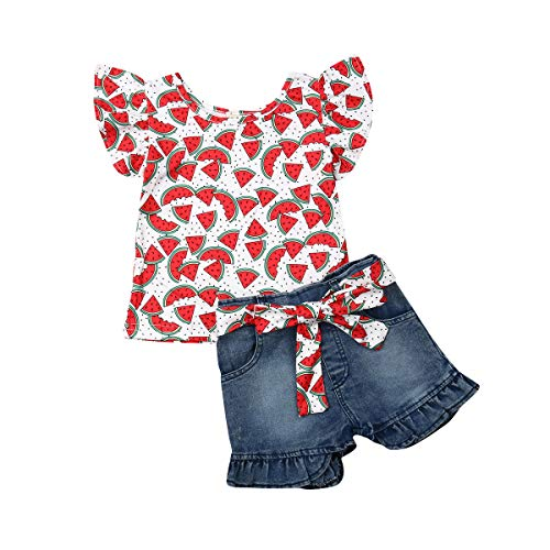 2Pcs/Set Fashion Toddler Kids Baby Girl Boy Summer Outfits Sleeveless Tassel T-Shirt Top+Floral Shorts Clothes Set 6M-5T (Watermelon, 3-4 Years)