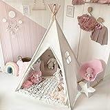 Tiny Land Tipi Spielzelt für Kinder mit Bodenmatte & Aufbewahrungstasche Baumwolle- Segeltuch...