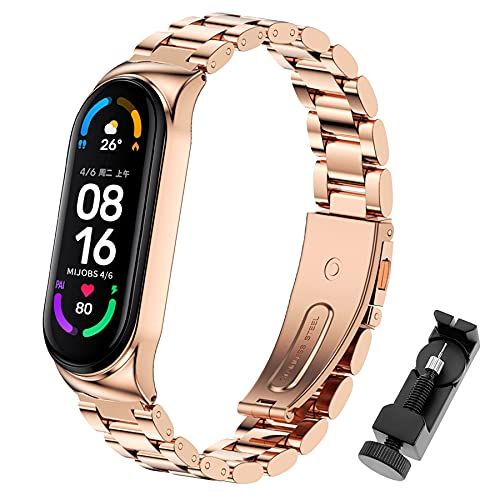 SenMore Armband Kompatibel mit Xiaomi Band 6 Metall Ersatzbänder für Xiaomi 5/4/3 Armbänder, Uhrenzubehör Edelstahlbänder Kompatibel mit Xiaomi 6 Armband, Xiaomi 5/4/3 Armband