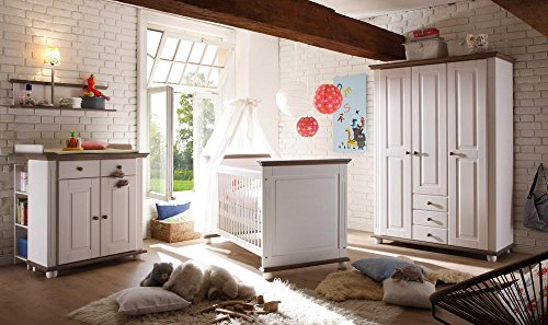 lifestyle4living Babyzimmer Komplettset in Weiß aus massiver Kiefer, Komplettes Babyzimmer besteht aus 4 Teilen im Landhausstil, Babyzimmerset bietet viel Stauraum