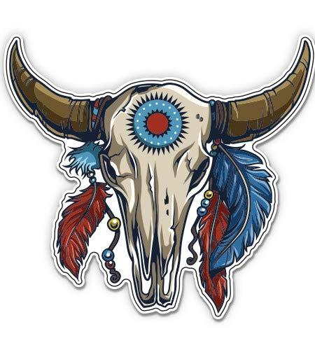 "GT Graphics Bull Skull Native Feathers - 20"" - Large Size Vinyl Sticker - for Truck Car Cornhole Board"