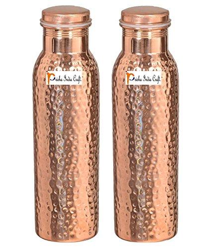 Prisha India Craft Botella de agua de cobre puro, diseño martillado, capacidad 900 ml, juego de 2