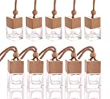 10 Pcs 8ml Car Air Freshener Ornament,Empty Clear Glass Essential Oil Diffuser Perfume Aromatherapy Pendant Vials With Wooden Caps & Hanging String-FREE 1 Funnel&Dropper