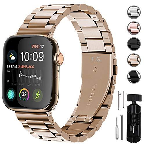 Fullmosa Für Apple Watch Armband 44/42mm, Rostfreier Edelstahl Ersatzband für iWatch/Apple Watch Serie 4/3/2/1, 44/42mm Gold