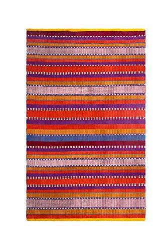 FAB HAB Sarva - Tapis Rouge Multicolore en Coton recyclé (240 cm x 300 cm)