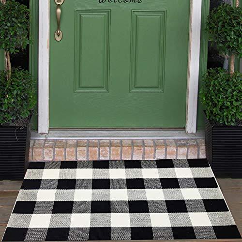 "Cotton Buffalo Check Rugs Front Porch Rug Doormat 2' x 4' Plaid Rug Outdoor Buffalo Checkered Throw Rug Black and White Farmhouse Checkered Door Mat Washable Woven Mat (27.5""x43.2"", Checkered Black)"