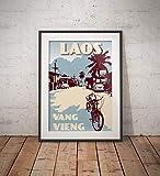 guyfam Vintage Poster Laos - Vang Vieng - Street - Blue -