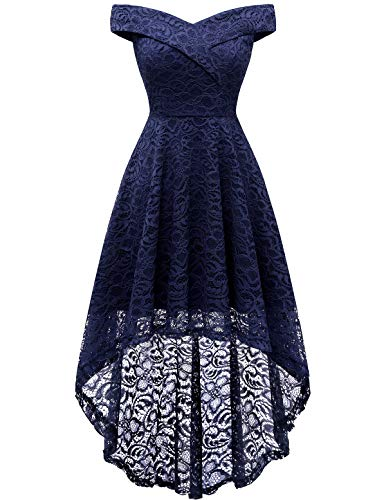 HomRain Damen Spitzenkleid Brautjungfernkleider Elegant Party Knielang Cocktailkleid Halloween Kleid Navy XL